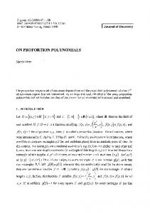 On proportion polynomials