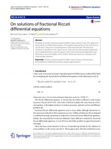 On solutions of fractional Riccati differential equations