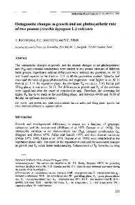 Ontogenetic changes in growth and net photosynthetic rate of two peanut (Arachis hypogaea L.) cultivars