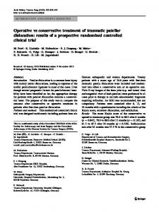 Operative vs conservative treatment of traumatic patellar dislocation: results of a prospective randomized controlled clinical trial