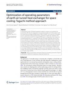 Optimization of operating parameters of earth air tunnel heat exchanger for space cooling: Taguchi method approach