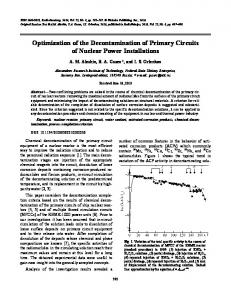 Optimization of the decontamination of primary circuits of nuclear power installations