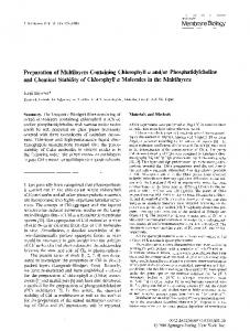 or phosphatidylcholine and chemical stability of chlorophylla molecules in the multilayers