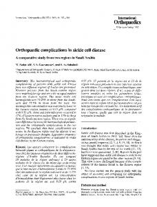 Orthopaedic complications in sickle cell disease