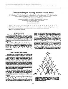 Oxidation of liquid ternary bismuth-based alloys