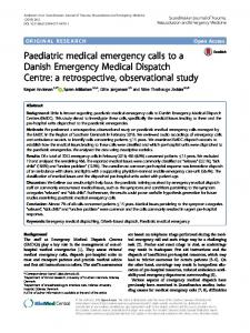 Paediatric medical emergency calls to a Danish Emergency Medical Dispatch Centre: a retrospective, observational study