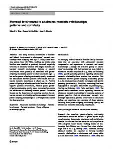 Parental involvement in adolescent romantic relationships: patterns and correlates