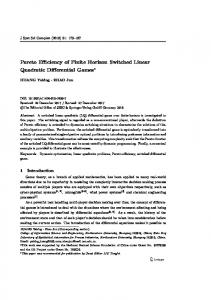 Pareto Efficiency of Finite Horizon Switched Linear Quadratic Differential Games