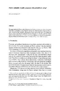 Pareto optimality of policy proposals with probabilistic voting
