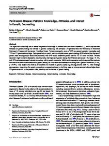 Parkinson's Disease: Patients' Knowledge, Attitudes, and Interest in Genetic Counseling