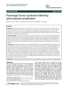 Parsonage-Turner syndrome following post-exposure prophylaxis