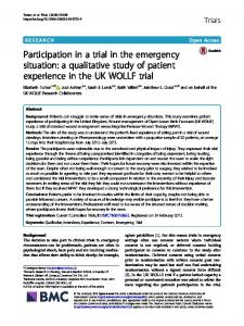 Participation in a trial in the emergency situation: a qualitative study of patient experience in the UK WOLLF trial
