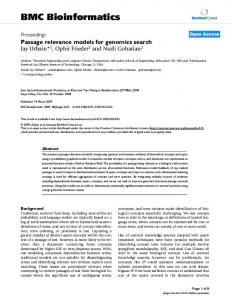 Passage relevance models for genomics search