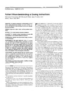 Patient misunderstanding of dosing instructions