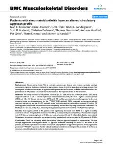 Patients with rheumatoid arthritis have an altered circulatory aggrecan profile