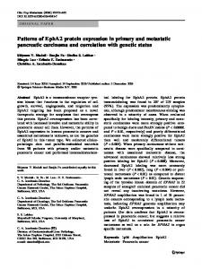 Patterns of EphA2 protein expression in primary and metastatic pancreatic carcinoma and correlation with genetic status