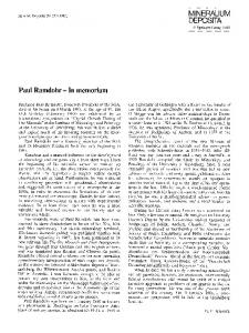 Paul Ramdohr — In memoriam