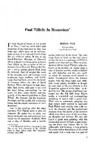 Paul Tillich: In memoriam