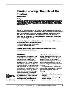 Pension sharing: The role of the trustees