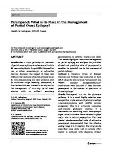 Perampanel: What is its Place in the Management of Partial Onset Epilepsy?