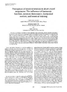 Perception of musical tension in short chord sequences: The influence of harmonic function, sensory dissonance, horizontal motion, and musical training