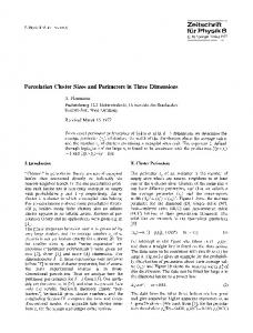 Percolation cluster sizes and perimeters in three dimensions