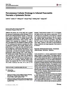 Percutaneous Catheter Drainage in Infected Pancreatitis Necrosis: a Systematic Review