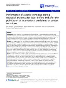 Performance of aseptic technique during neuraxial analgesia for labor before and after the publication of international guidelines on aseptic technique