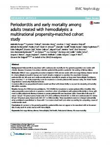 Periodontitis and early mortality among adults treated with hemodialysis: a multinational propensity-matched cohort study