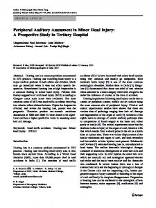 Peripheral Auditory Assessment in Minor Head Injury: A Prospective Study in Tertiary Hospital