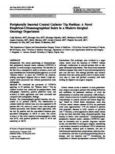 Peripherally Inserted Central Catheter Tip Position: A Novel Empirical-Ultrasonographical Index in a Modern Surgical Oncology Department