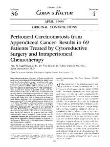 Peritoneal carcinomatosis from appendiceal cancer: Results in 69 patients treated by cytoreductive surgery and intraperitoneal chemotherapy