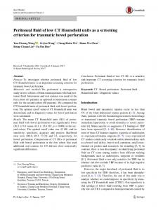 Peritoneal fluid of low CT Hounsfield units as a screening criterion for traumatic bowel perforation
