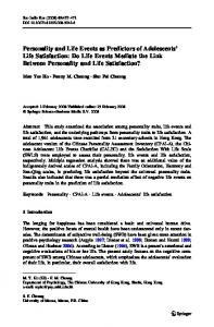 Personality and Life Events as Predictors of Adolescents' Life Satisfaction: Do Life Events Mediate the Link Between Personality and Life Satisfaction?