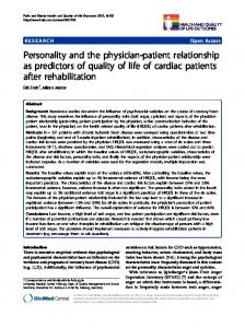 Personality and the physician-patient relationship as predictors of quality of life of cardiac patients after rehabilitation