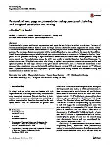 Personalized web page recommendation using case-based clustering and weighted association rule mining