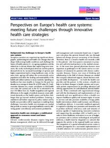 Perspectives on Europe's health care systems: meeting future challenges through innovative health care strategies