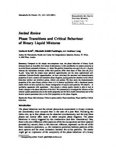 Phase Transitions and Critical Behaviour of Binary Liquid Mixtures
