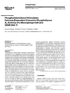 Phosphatidylethanol stimulates calcium-dependent cytosolic phospholipase A2 activity of a macrophage cell line (RAW 264.7)