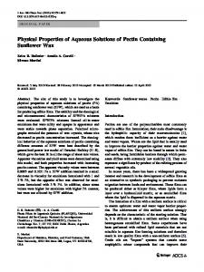 Physical Properties of Aqueous Solutions of Pectin Containing Sunflower Wax