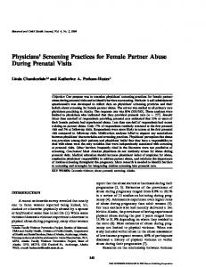 Physicians' Screening Practices for Female Partner Abuse During Prenatal Visits