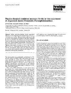 Physico-chemical conditions necessary for the in vitro excystment ofzygocotyle lunata (Trematoda: Paramphistomatidae)
