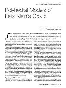 Polyhedral Models of Felix Klein's Group