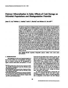 Polymer Mineralization in Soils: Effects of Cold Storage on Microbial Populations and Biodegradation Potential