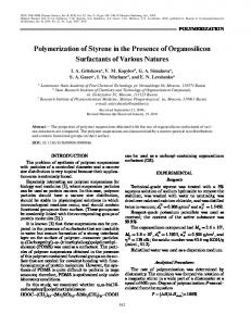 Polymerization of styrene in the presence of organosilicon surfactants of various natures