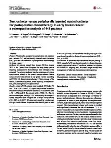 Port catheter versus peripherally inserted central catheter for postoperative chemotherapy in early breast cancer: a retrospective analysis of 448 patients