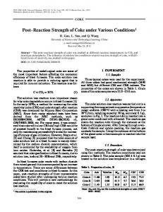 Post-reaction strength of coke under various conditions