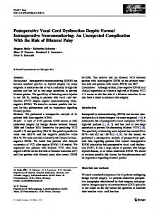 Postoperative Vocal Cord Dysfunction Despite Normal Intraoperative Neuromonitoring: An Unexpected Complication With the Risk of Bilateral Palsy