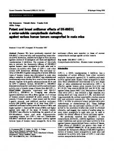 Potent and broad antitumor effects of DX-8951f,  a water-soluble camptothecin derivative,  against various human tumors xenografted in nude mice