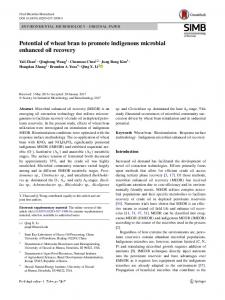 Potential of wheat bran to promote indigenous microbial enhanced oil recovery